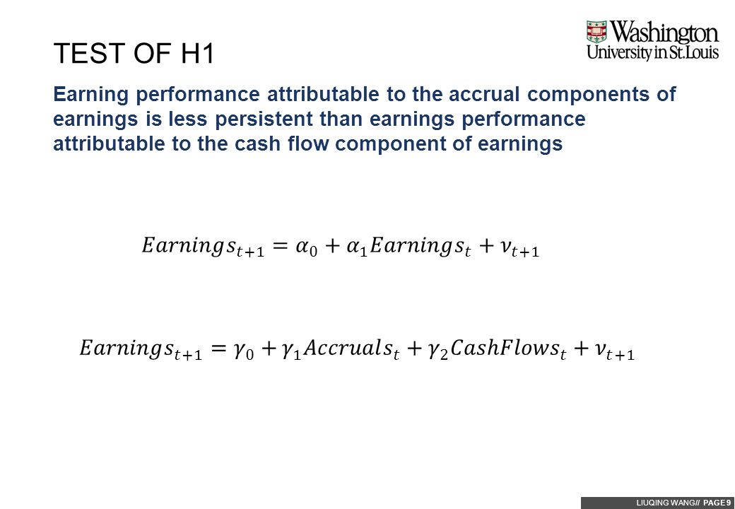 LIUQING WANG// PAGE 9 Earning performance attributable to the accrual components of earnings is less persistent than earnings performance attributable to the cash flow component of earnings TEST OF H1