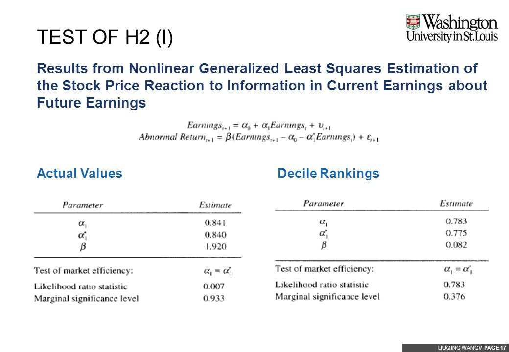 LIUQING WANG// PAGE 17 Results from Nonlinear Generalized Least Squares Estimation of the Stock Price Reaction to Information in Current Earnings abou