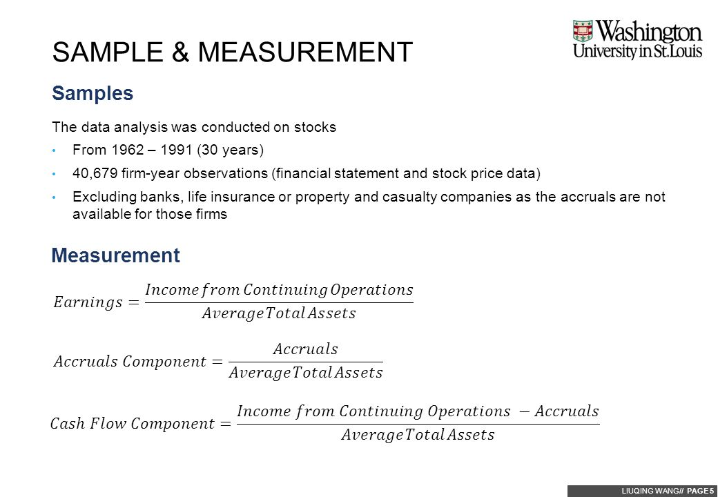 LIUQING WANG// PAGE 5 Samples The data analysis was conducted on stocks From 1962 – 1991 (30 years) 40,679 firm-year observations (financial statement