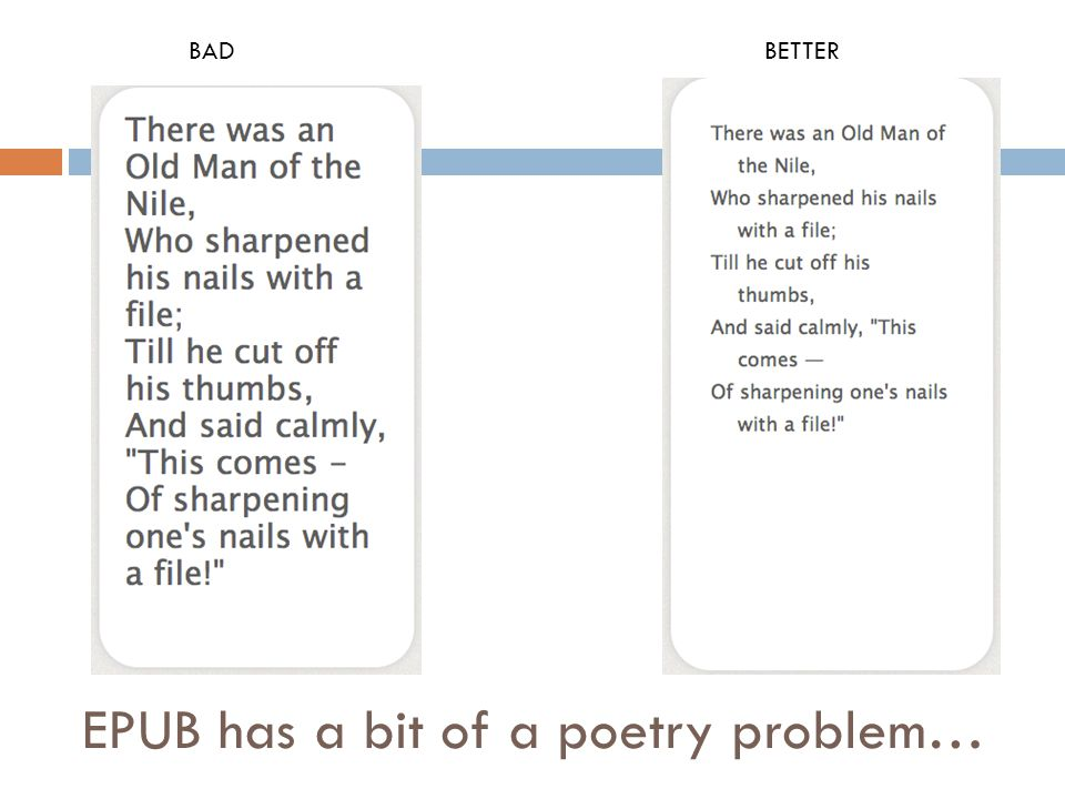 EPUB has a bit of a poetry problem… BADBETTER