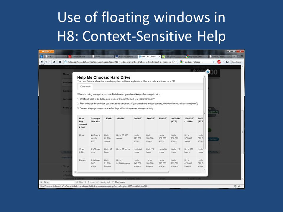 Use of floating windows in H8: Context-Sensitive Help