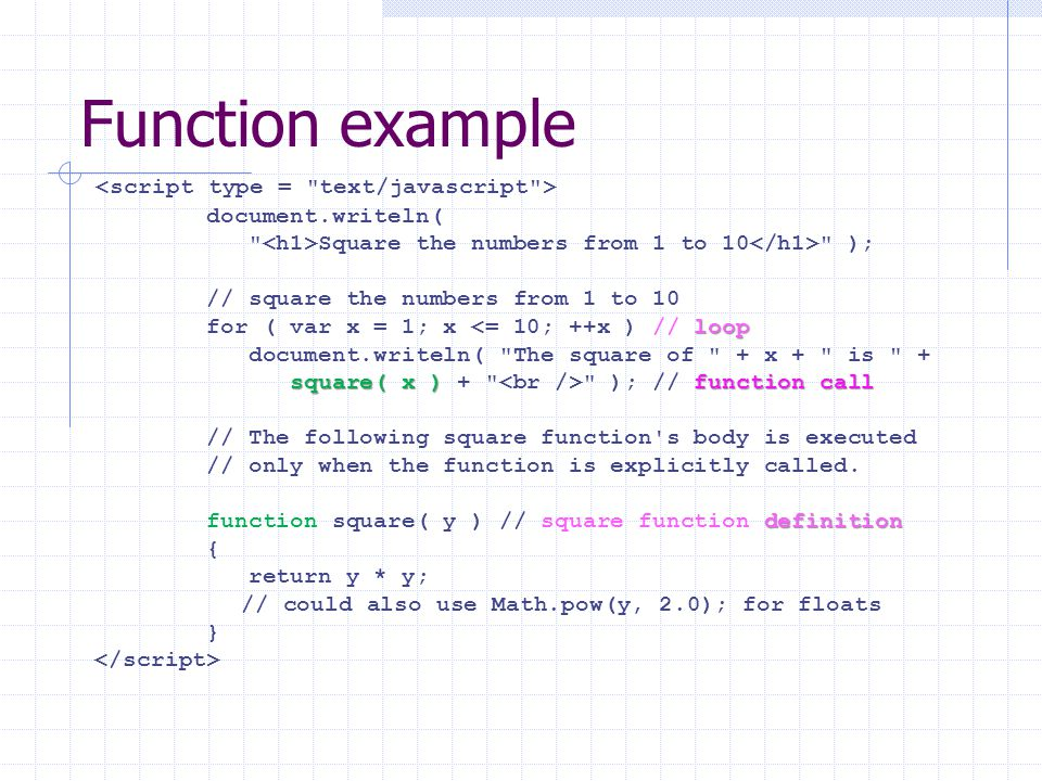 Function example document.writeln( Square the numbers from 1 to 10 ); // square the numbers from 1 to 10 loop for ( var x = 1; x <= 10; ++x ) // loop document.writeln( The square of + x + is + square( x ) function call square( x ) + ); // function call // The following square function s body is executed // only when the function is explicitly called.