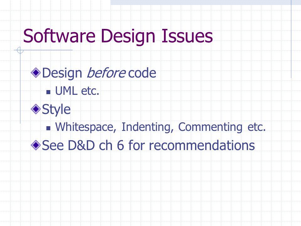 Software Design Issues Design before code UML etc.
