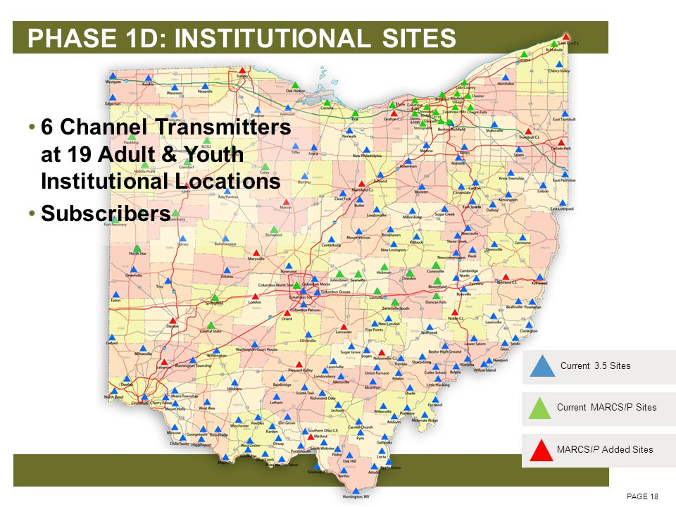 PHASE 1D: INSTITUTIONAL SITES PAGE 18 Current MARCSIP SitesCurrent 3.5 Sites 6 Channel Transmitters at 19 Adult & Youth Institutional Locations Subscribers MARCSIP Added Sites