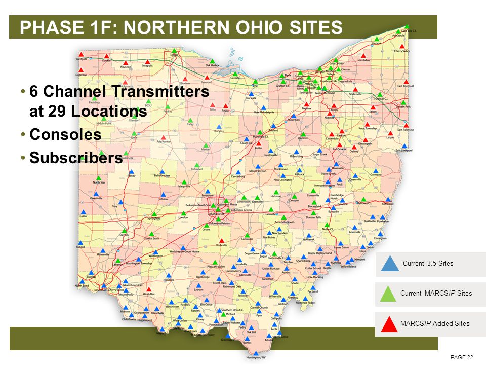 PHASE 1F: NORTHERN OHIO SITES PAGE 22 6 Channel Transmitters at 29 Locations Consoles Subscribers Current MARCSIP SitesCurrent 3.5 SitesMARCSIP Added Sites