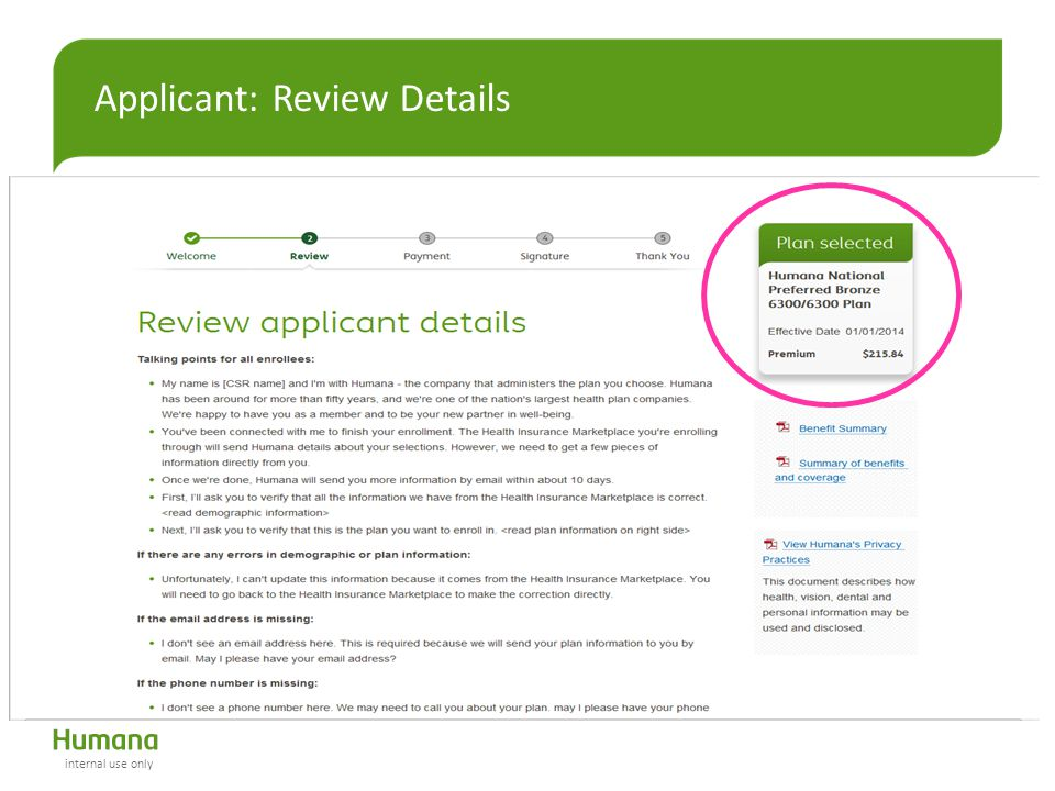 Applicant: Review Details internal use only