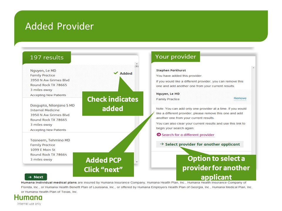 "Added Provider Added PCP Click ""next"" Check indicates added Option to select a provider for another applicant internal use only"