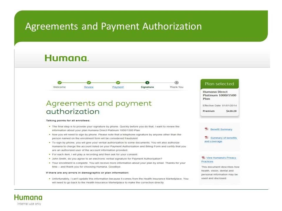 Agreements and Payment Authorization internal use only