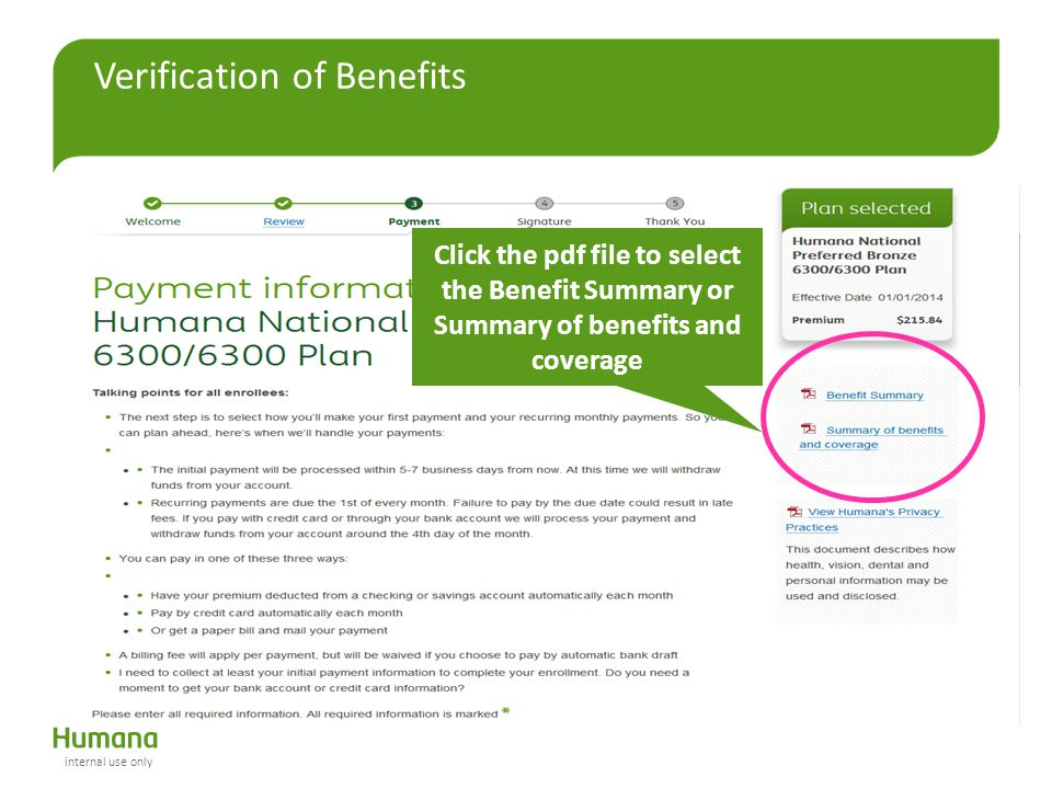 Verification of Benefits Click the pdf file to select the Benefit Summary or Summary of benefits and coverage internal use only