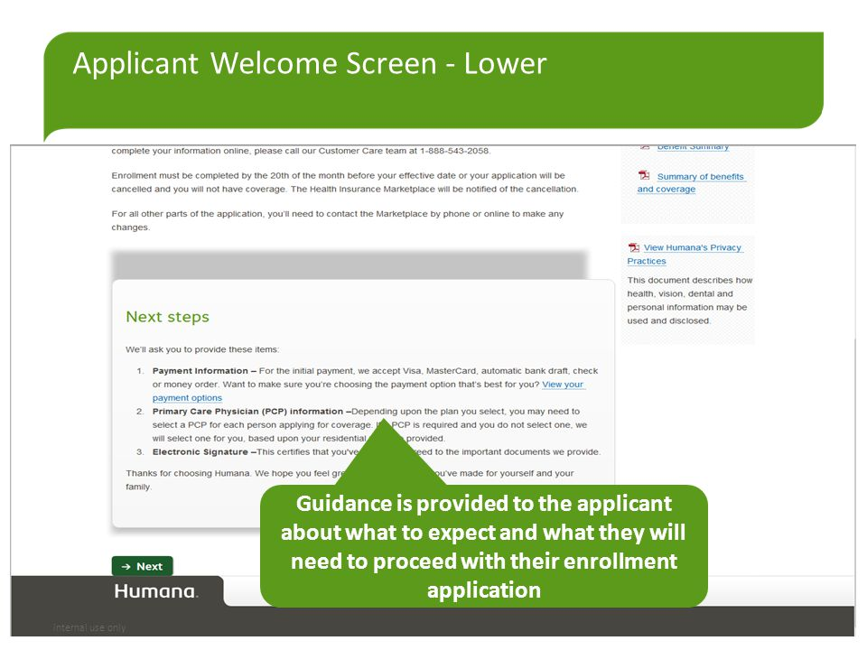Applicant Welcome Screen - Lower Guidance is provided to the applicant about what to expect and what they will need to proceed with their enrollment a
