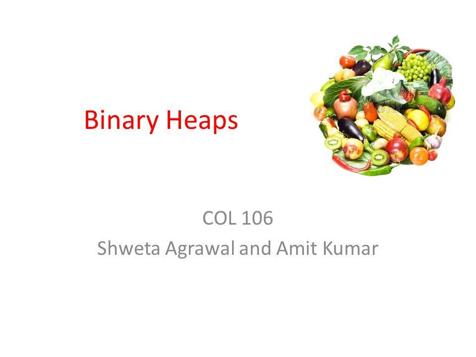 Binary Heaps COL 106 Shweta Agrawal and Amit Kumar