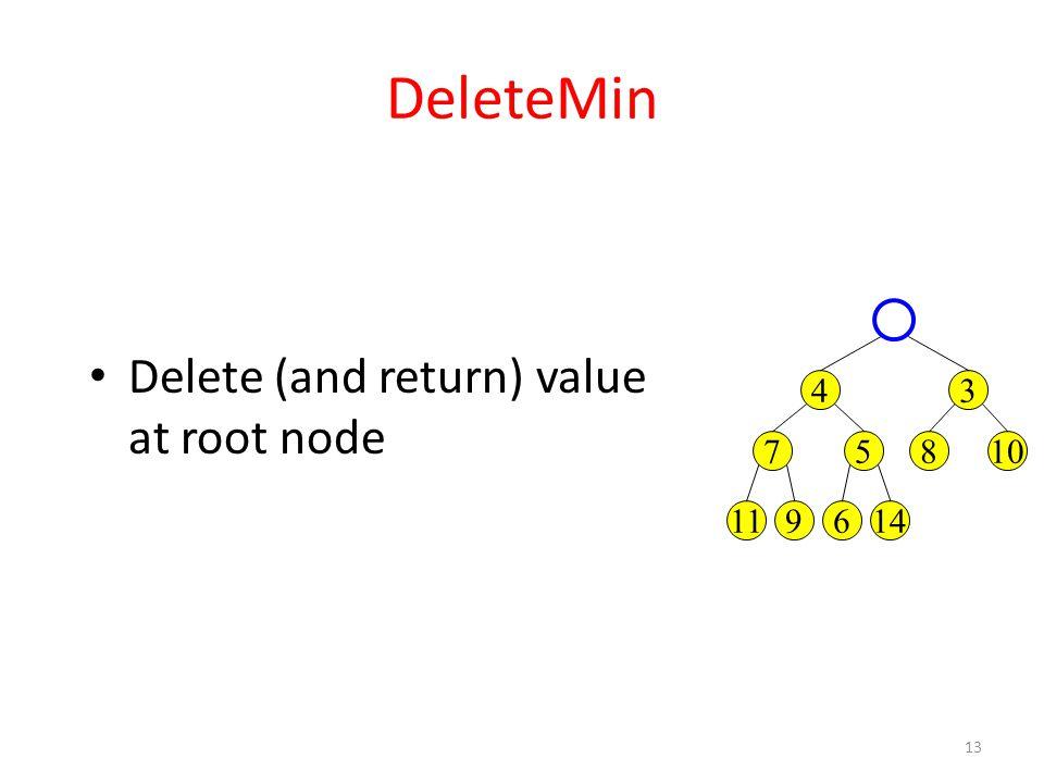13 DeleteMin 34 10857 146911 Delete (and return) value at root node