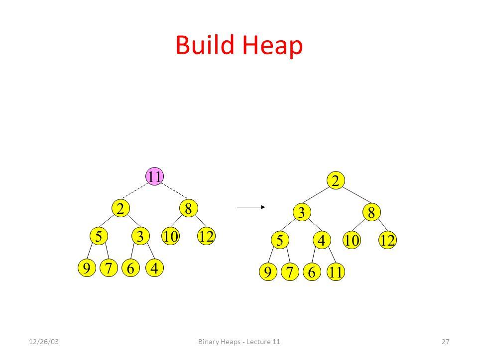 12/26/03Binary Heaps - Lecture 1127 Build Heap 4 82 121035 679 11 83 121045 679 2