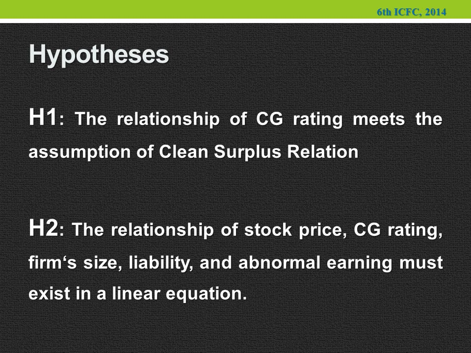 Hypotheses H1 : The relationship of CG rating meets the assumption of Clean Surplus Relation H2 : The relationship of stock price, CG rating, firm's size, liability, and abnormal earning must exist in a linear equation.