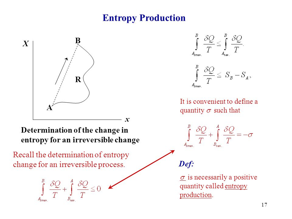 17 Entropy Production A B R X x Determination of the change in entropy for an irreversible change Recall the determination of entropy change for an ir