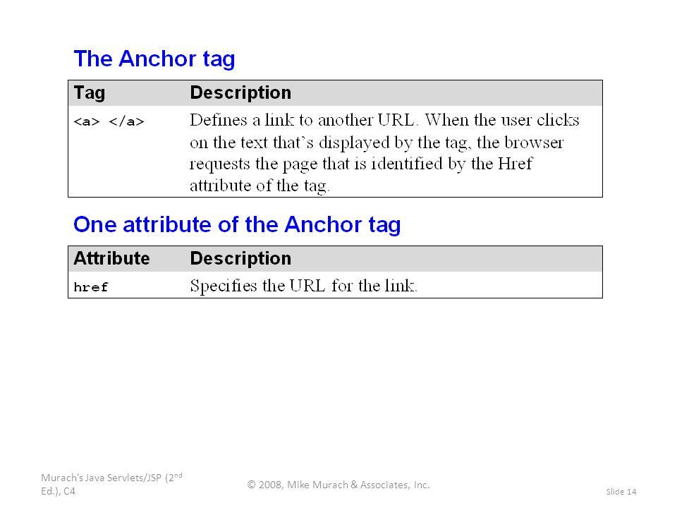 Murach's Java Servlets/JSP (2 nd Ed.), C4 © 2008, Mike Murach & Associates, Inc. Slide 14