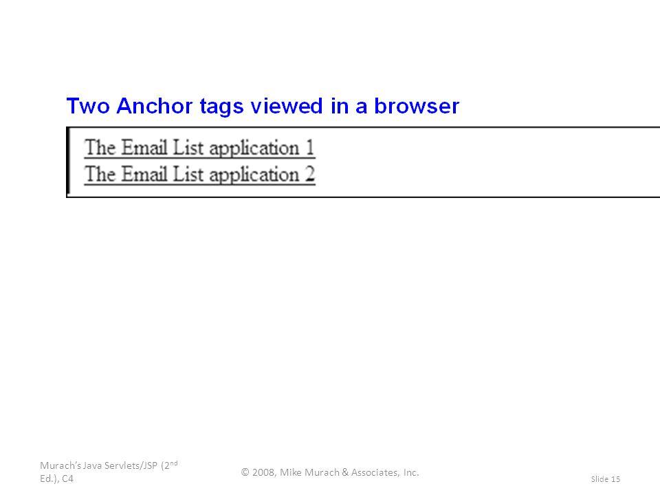 Murach's Java Servlets/JSP (2 nd Ed.), C4 © 2008, Mike Murach & Associates, Inc. Slide 15