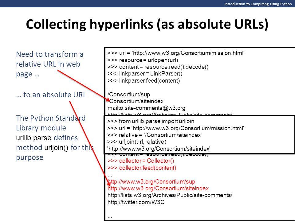 >>> url = http://www.w3.org/Consortium/mission.html >>> resource = urlopen(url) >>> content = resource.read().decode() >>> collector = Collector() >>> collector.feed(content)...