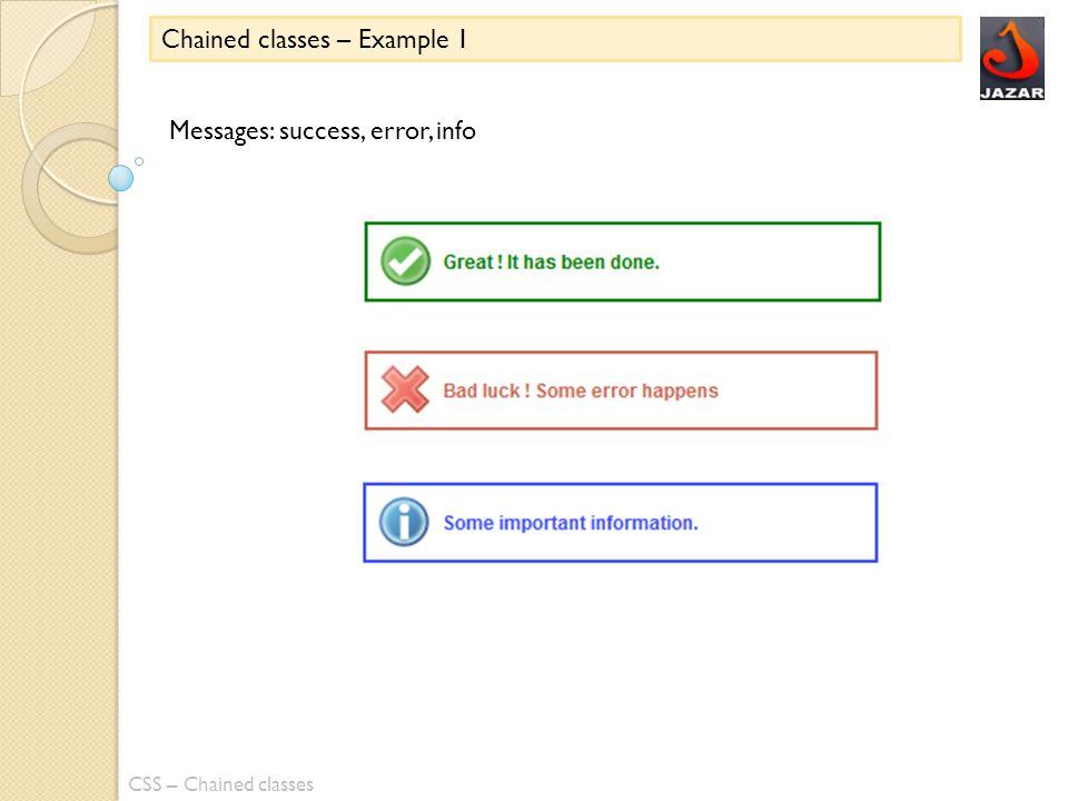 CSS – Chained classes Chained classes – Example 1 Messages: success, error, info