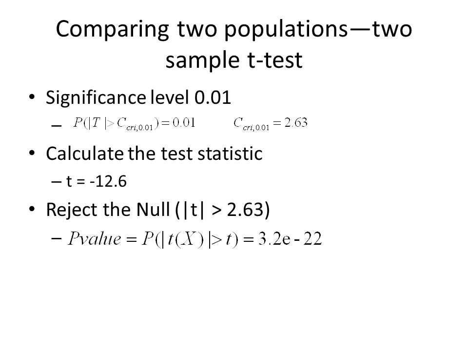 Comparing two populations—two sample t-test Significance level 0.01 – Calculate the test statistic – t = -12.6 Reject the Null (|t| > 2.63) –