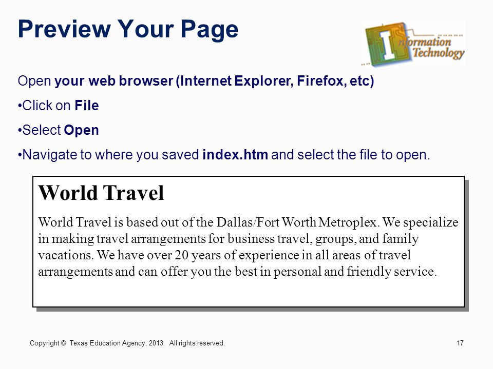 Preview Your Page World Travel World Travel is based out of the Dallas/Fort Worth Metroplex.