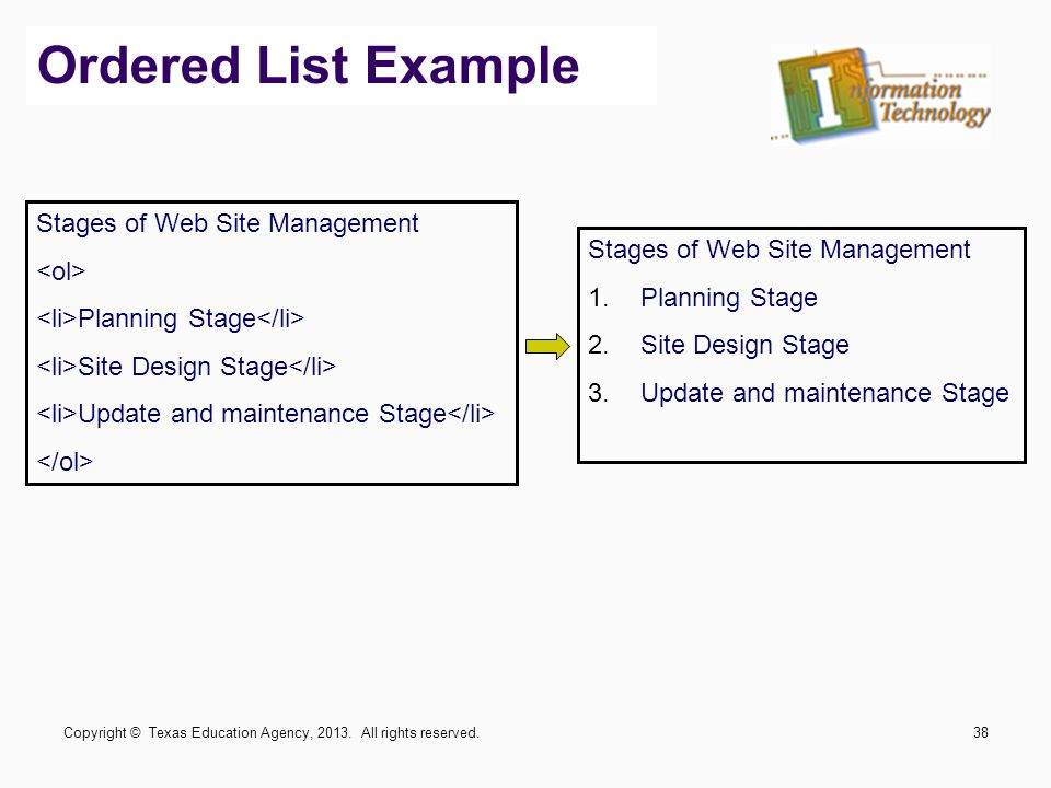 Ordered List Example Stages of Web Site Management Planning Stage Site Design Stage Update and maintenance Stage Stages of Web Site Management 1.Planning Stage 2.Site Design Stage 3.Update and maintenance Stage Copyright © Texas Education Agency, 2013.