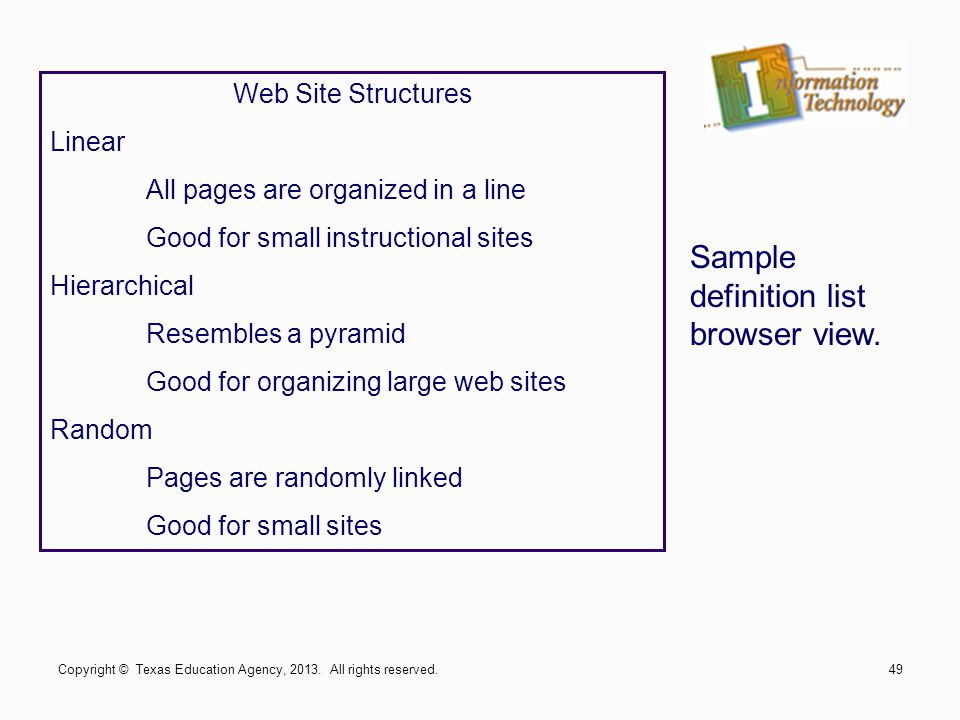 Web Site Structures Linear All pages are organized in a line Good for small instructional sites Hierarchical Resembles a pyramid Good for organizing large web sites Random Pages are randomly linked Good for small sites Sample definition list browser view.