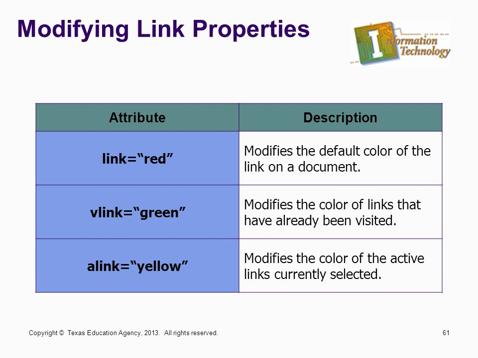 """AttributeDescription link=""""red"""" Modifies the default color of the link on a document. vlink=""""green"""" Modifies the color of links that have already been"""