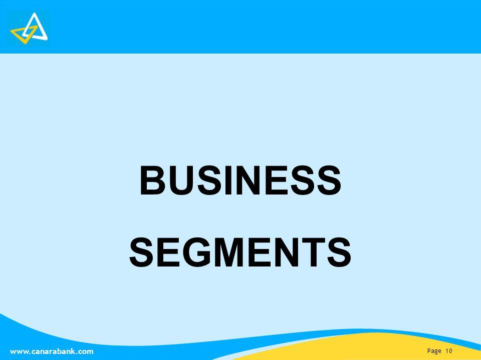 Page 10 www.canarabank.com BUSINESS SEGMENTS