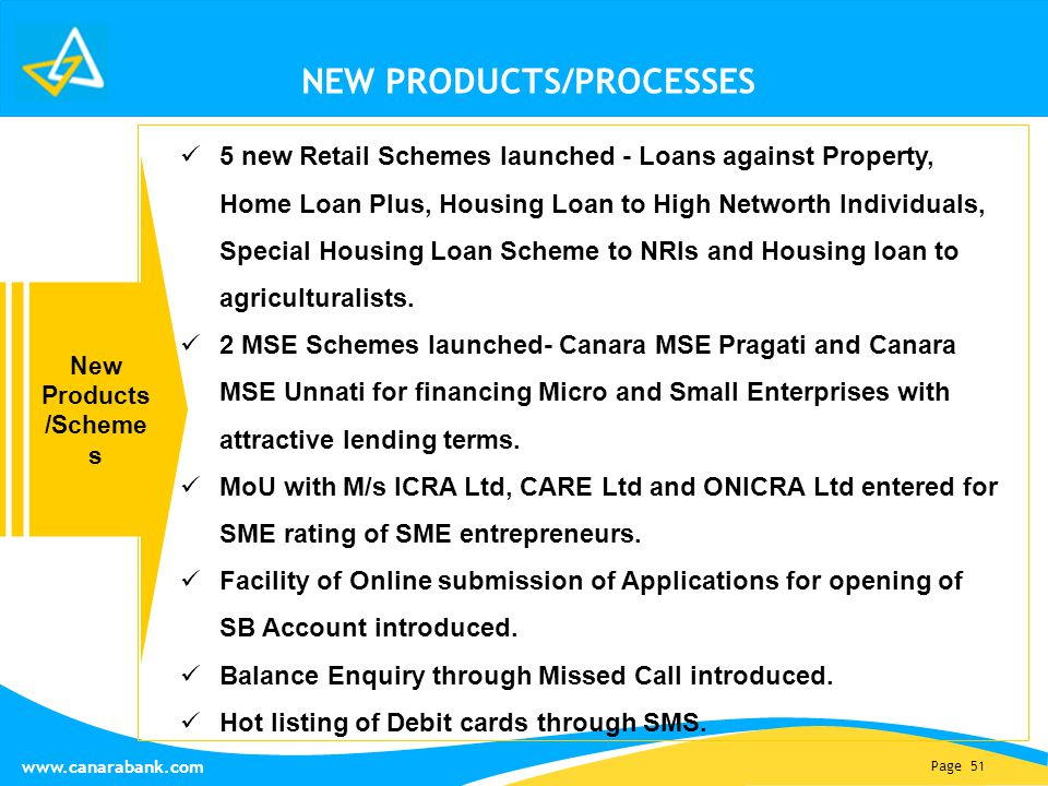 Page 51 www.canarabank.com NEW PRODUCTS/PROCESSES 5 new Retail Schemes launched - Loans against Property, Home Loan Plus, Housing Loan to High Networth Individuals, Special Housing Loan Scheme to NRIs and Housing loan to agriculturalists.