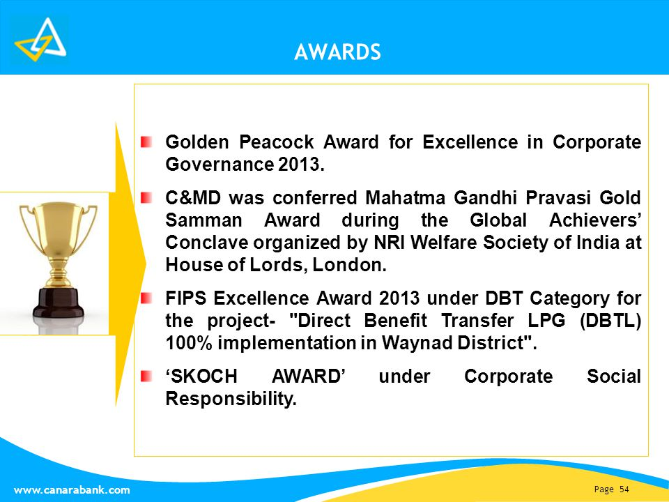 Page 54 www.canarabank.com AWARDS Golden Peacock Award for Excellence in Corporate Governance 2013. C&MD was conferred Mahatma Gandhi Pravasi Gold Sam