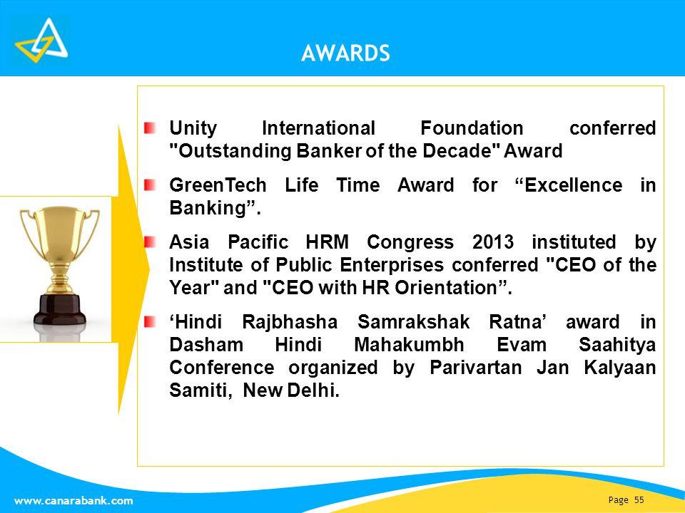 Page 55 www.canarabank.com AWARDS Unity International Foundation conferred