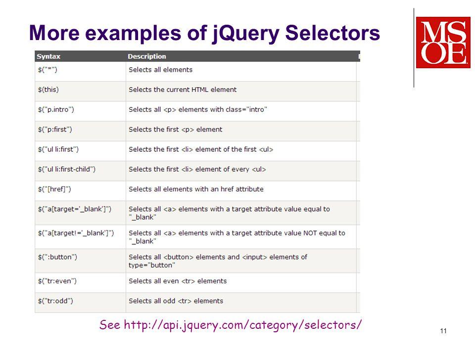 More examples of jQuery Selectors 11 See http://api.jquery.com/category/selectors/