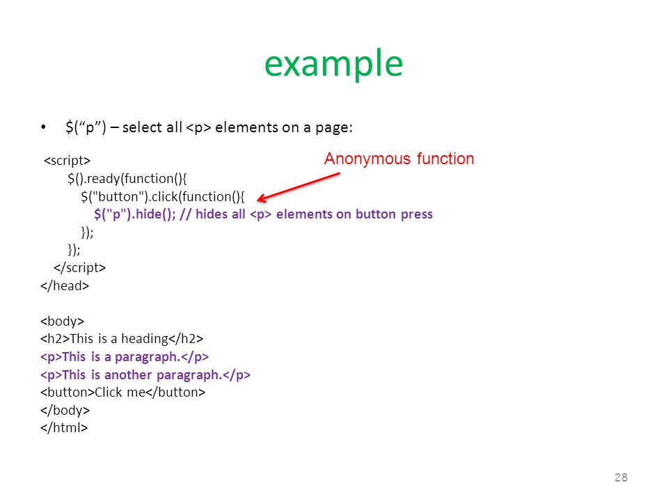 """example $(""""p"""") – select all elements on a page: $().ready(function(){ $("""