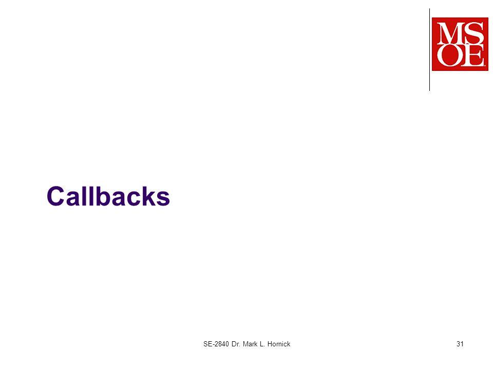 Callbacks SE-2840 Dr. Mark L. Hornick31