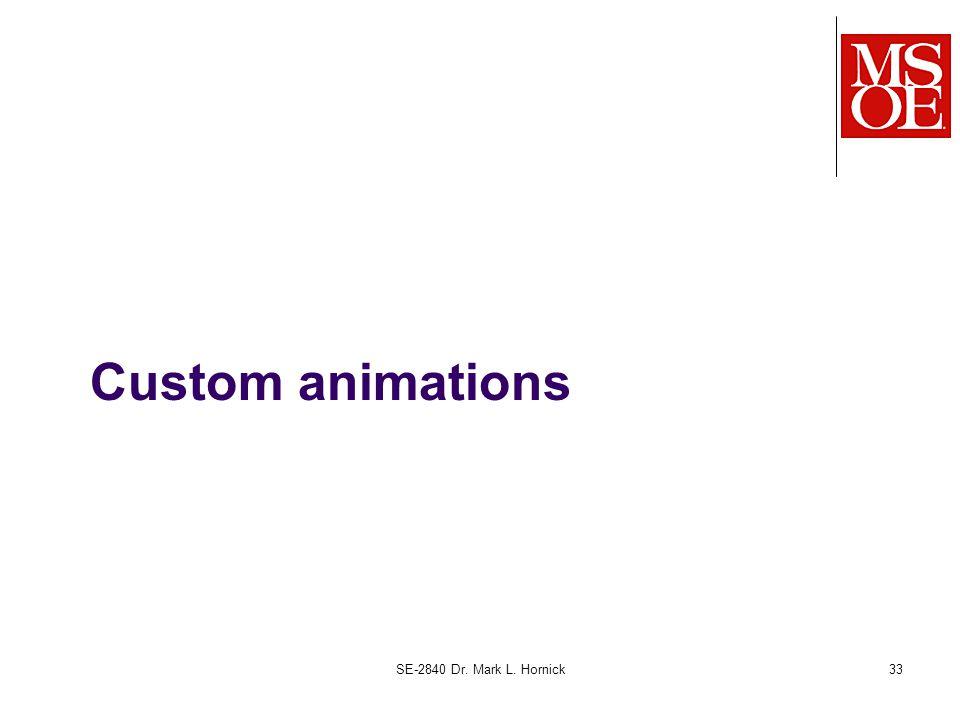 Custom animations SE-2840 Dr. Mark L. Hornick33