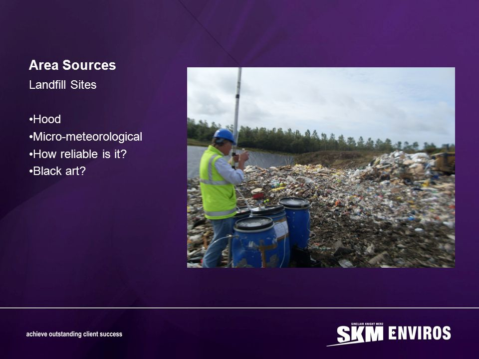Area Sources Landfill Sites Hood Micro-meteorological How reliable is it? Black art?