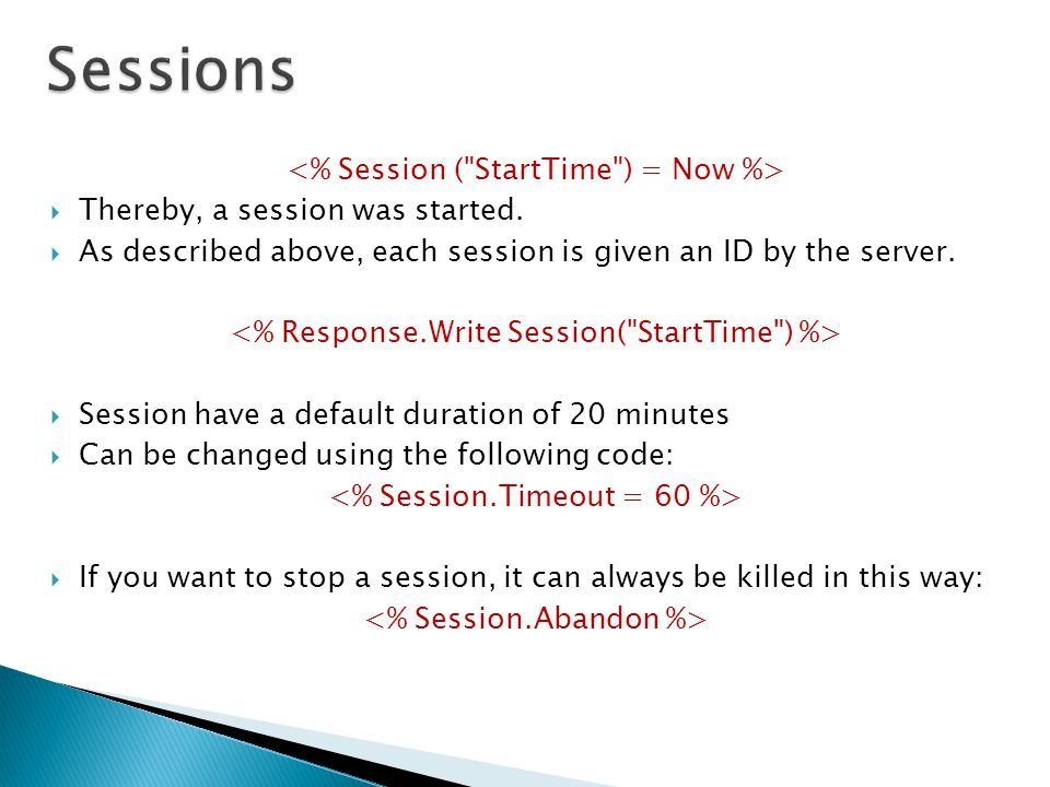  Thereby, a session was started.  As described above, each session is given an ID by the server.