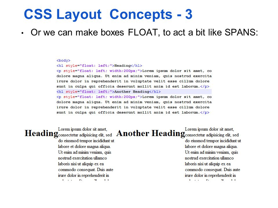 CSS Layout Concepts - 3 Or we can make boxes FLOAT, to act a bit like SPANS: