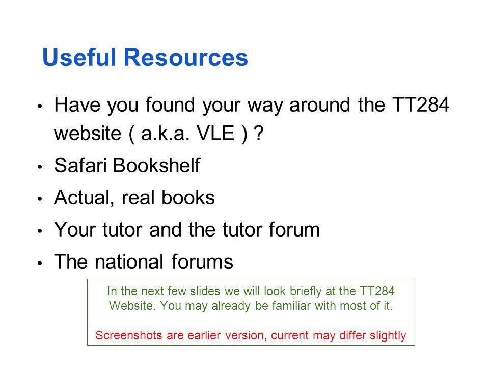 The TT284 Website (1) News, Assessment (TMAs) and Safari Library