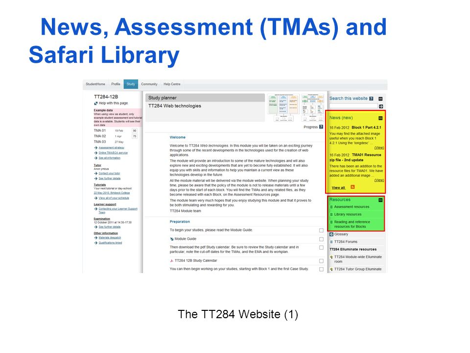 The TT284 Website (1) News, Assessment (TMAs) and Safari Library