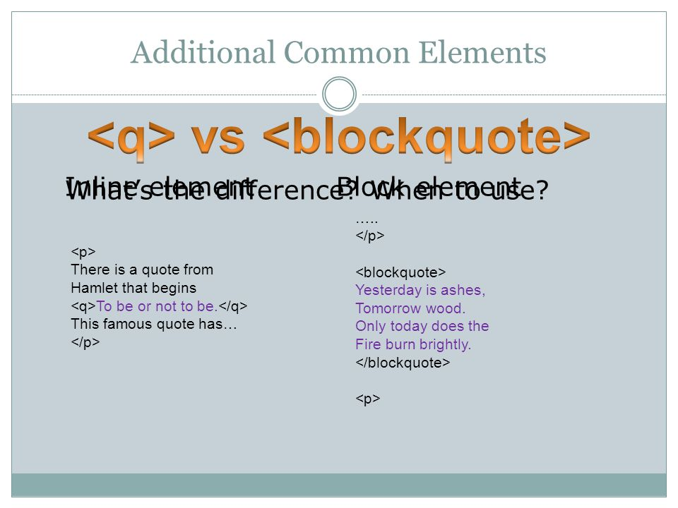 Additional Common Elements What's the difference. When to use.