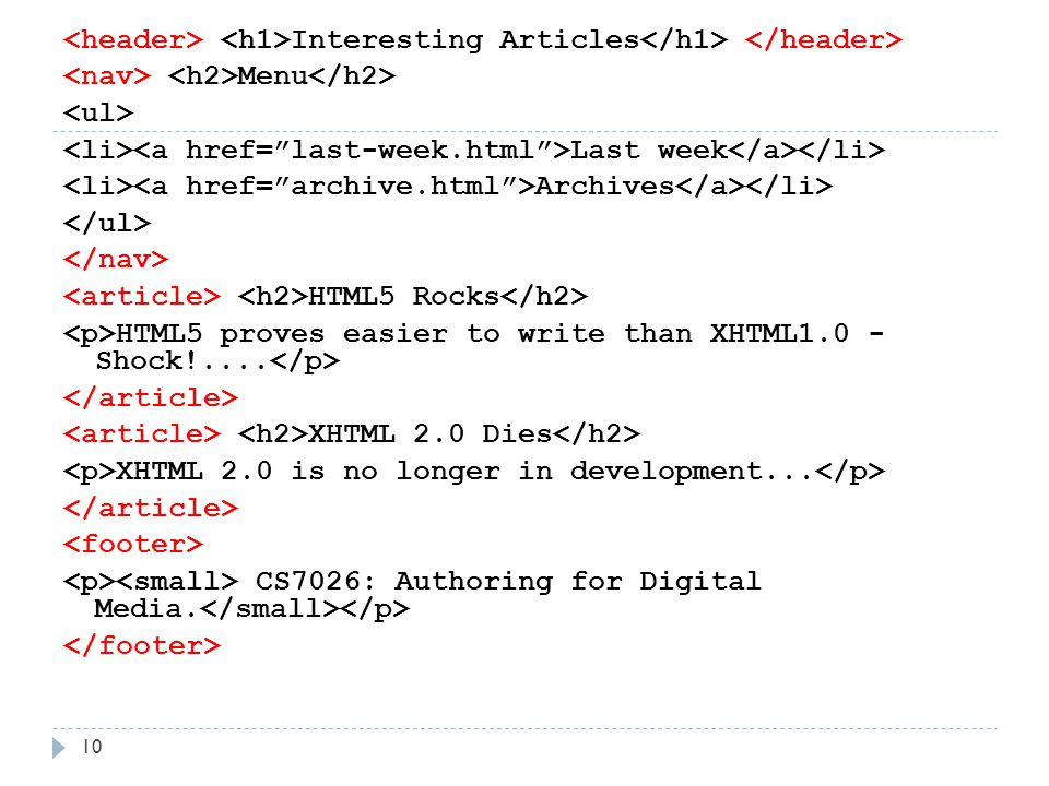 Interesting Articles Menu Last week Archives HTML5 Rocks HTML5 proves easier to write than XHTML1.0 - Shock!....