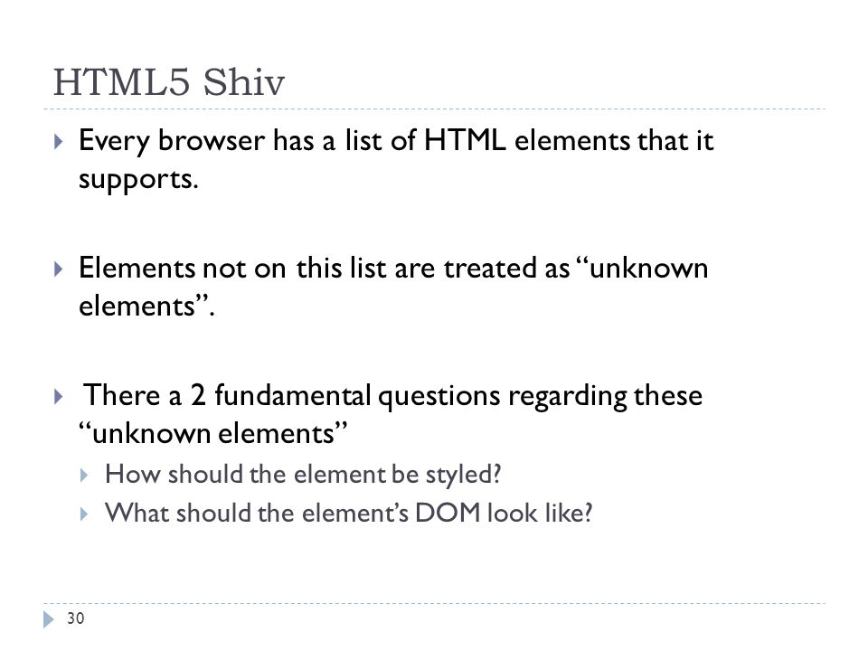 HTML5 Shiv  Every browser has a list of HTML elements that it supports.