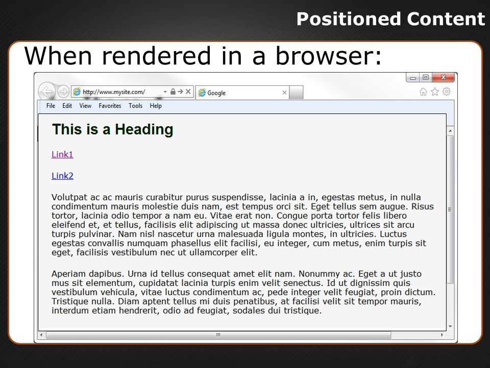Positioned Content When rendered in a browser: