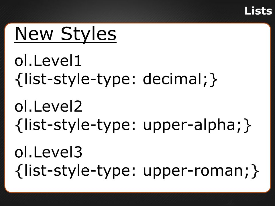 Lists Nested List In Browser 1.Item 1 A.Sub-item a I.Sub-sub-item I II.Sub-sub-item II B.Sub-item b 2.Item 2