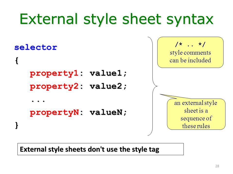 28 External style sheet syntax selector{ property1: value1; property1: value1; property2: value2; property2: value2;...... propertyN: valueN; property
