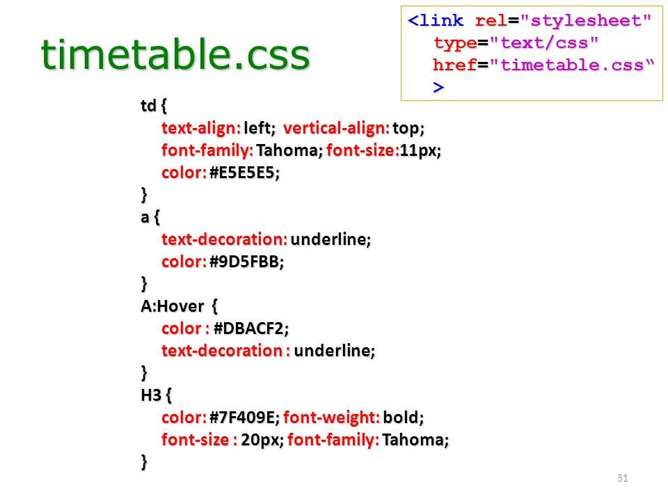 31 timetable.css td { text-align: left; vertical-align: top; font-family: Tahoma; font-size:11px; color: #E5E5E5; } a { text-decoration: underline; co