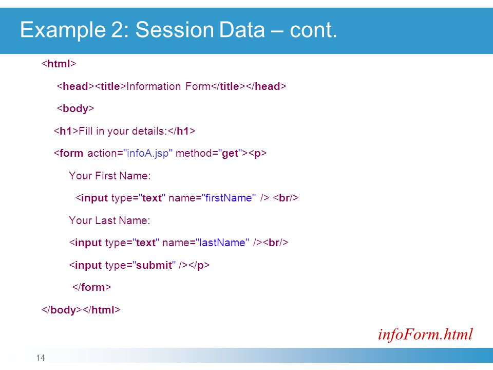 Information Form Fill in your details: Your First Name: Your Last Name: infoForm.html 14 Example 2: Session Data – cont.
