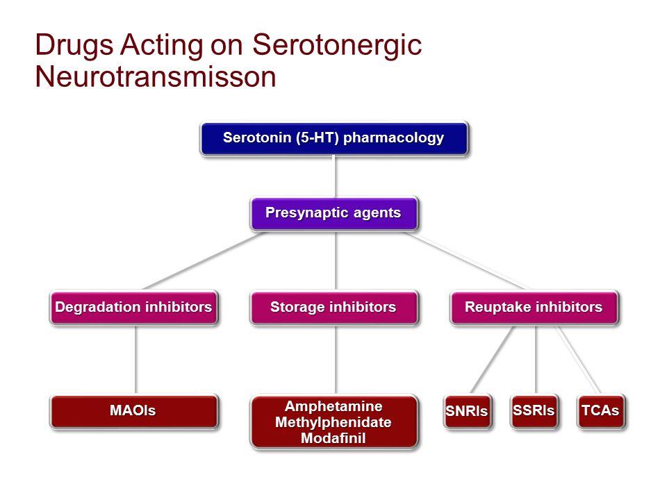 Drugs Acting on Serotonergic Neurotransmisson Reuptake inhibitors Storage inhibitors TCAsTCAsSSRIsSSRIsSNRIsSNRIs Amphetamine Methylphenidate Modafini
